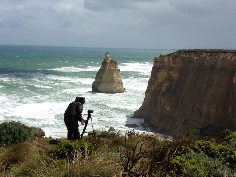 Filming in high wind, 12 Apostles, Great Ocean Road